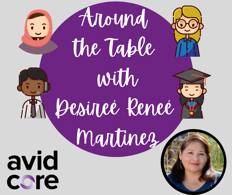 """Purple circular infographic that reads: """"Around the table with Desiree Renee Martinez"""" with Desiree's headshot in the bottom right; various cartoons with diverse representation surround the purple circle"""
