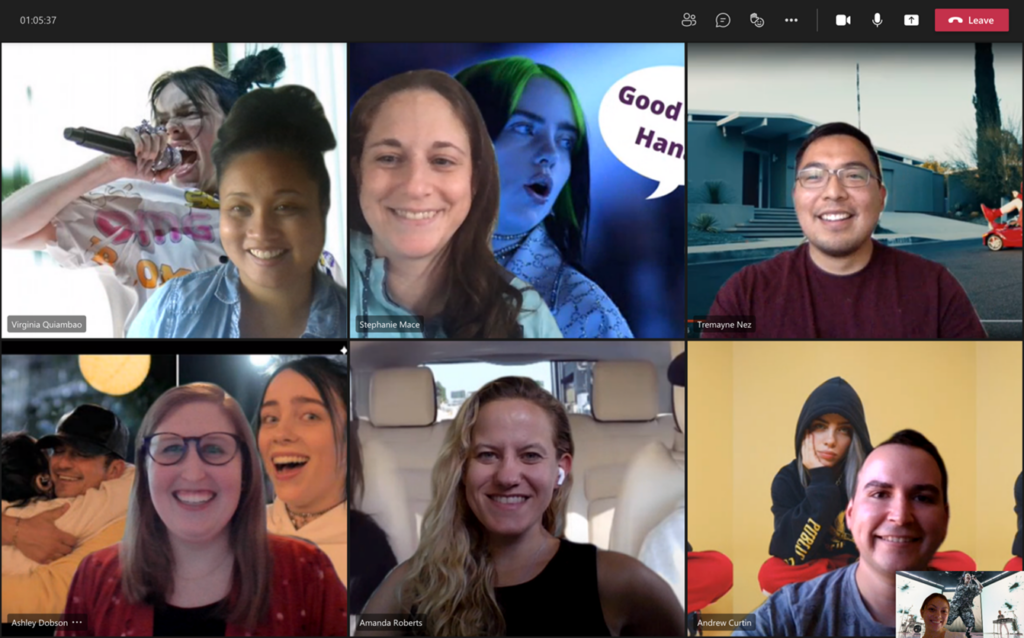 Screenshot of the Avid Core team smiling during a virtual meeting, all with different Billie Eilish photos as their backgrounds.