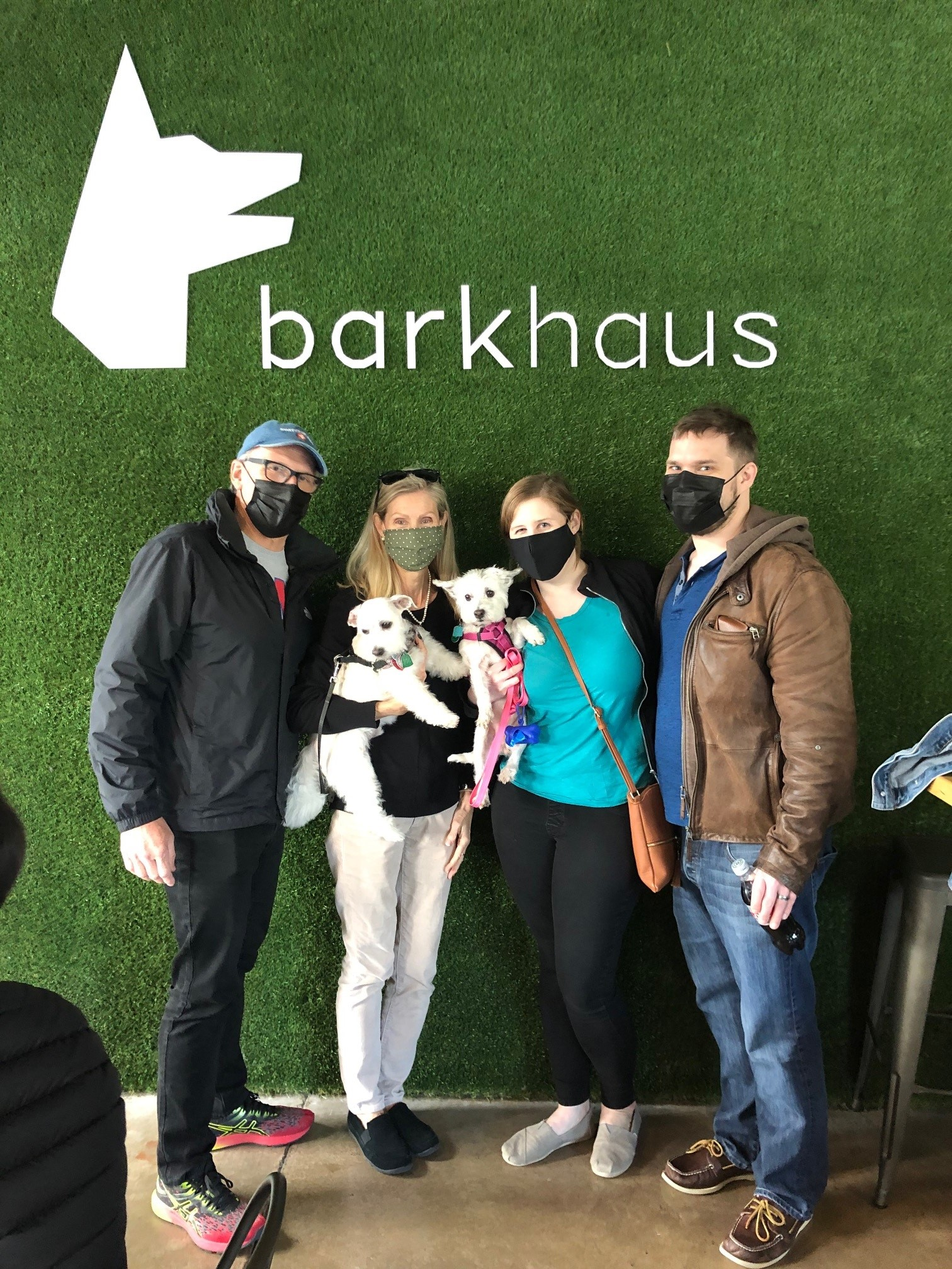 Four masked adults and two dogs take a photo in front of a green backdrop. Text in the background reads Barkhaus with a dog logo.
