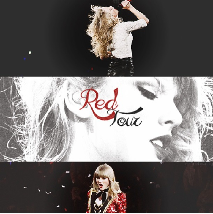 Alt-text: Three images stacked on top of each other, each featuring Taylor Swift on stage at the Red album tour.